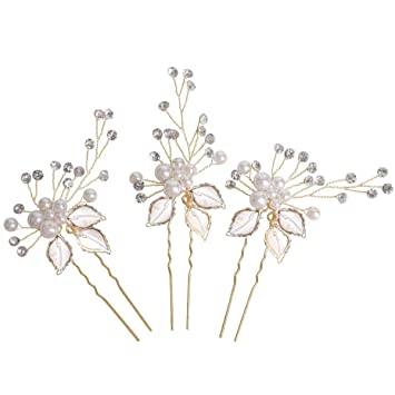 Amazon.com : Sppry Wedding Hair Pins (3 Pcs) - Elegant Pearl Leaf .