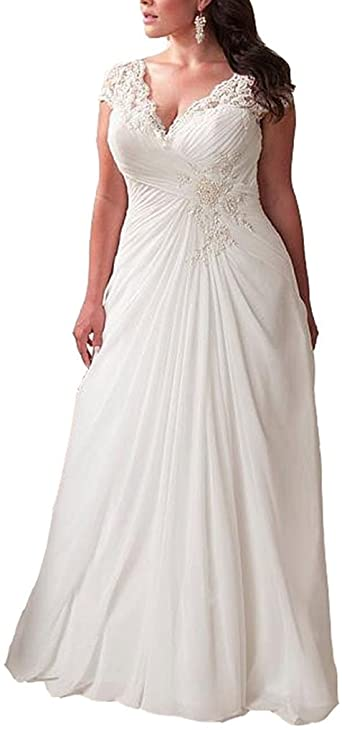 YIPEISHA Women's Elegant Applique Lace Wedding Dress V Neck Plus .