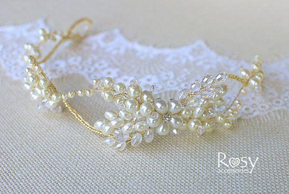 Wedding Tiara Wedding Crown Pearl Wedding Halo Bridal Hair | Etsy .