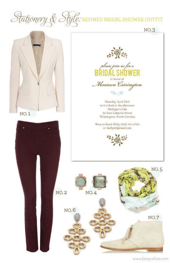 Stationery & Style: Refined Bridal Shower Outfit | Bridal shower .