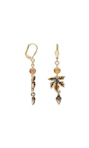 Leaf-and-acorn charms dangle from leverback ear wires in these .