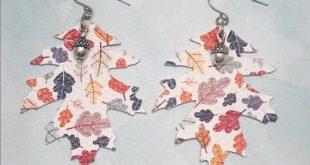Fall inspired oak leaf earrings in many colors Silver acorn   Et
