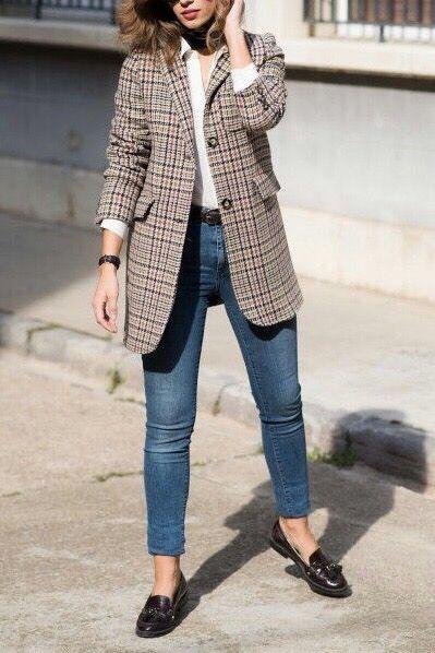 Plaid blazer outfits street fashion | Plaid blazer outfit, Blazer .