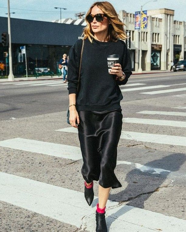 Black sweater + slip dress + ankle boots | Slip dress street style .