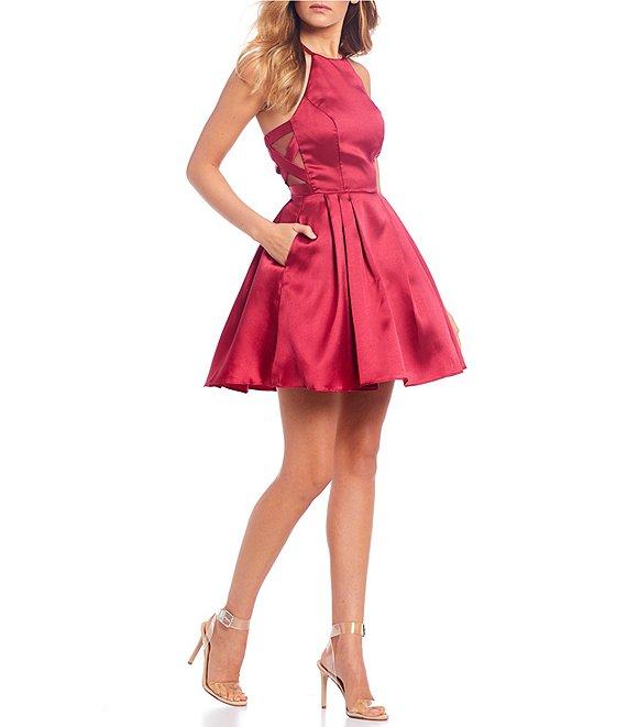B. Darlin High-Neck Satin Fit-and-Flare Dress | Dillard