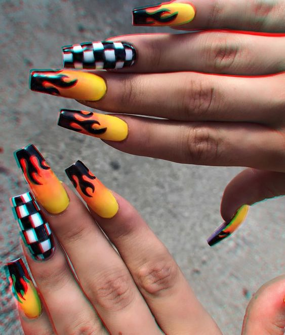 51 Stylish Fire Nail Art Design Ideas You Must Try – Page 5 .