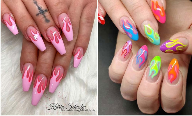 21 Flame Nail Ideas - the Newest Summer Manicure Trend | StayGl