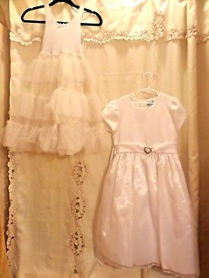 GIRLS VINTAGE FLOWER GIRL LONG WHITE POLY DRESS AND UNDER .