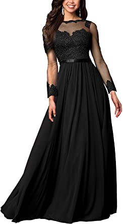 Aofur Women's Long Sleeve Lace Floral Formal Evening Gowns Ladies .