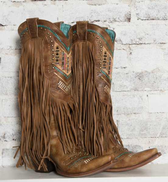 Women's Honey Crystal Pattern Fringe Boot - C2910 | Boots, Cowgirl .