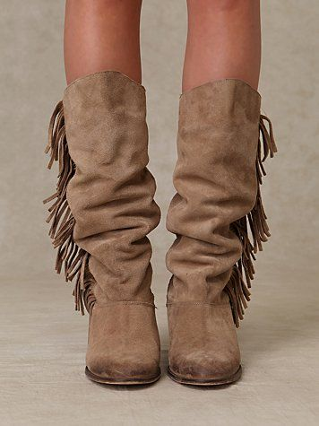 Free People Slouch Fringe Boot | Fringe boots, Boots, Crazy sho