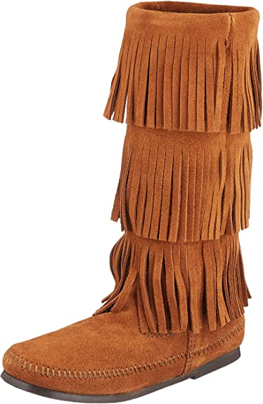 Amazon.com | Minnetonka Women's 3-Layer Fringe Boot | Mid-Ca