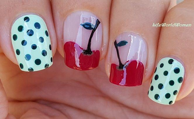 Cherry #Nailart With #Polkadot | Fruit nail art, Simple nail art .