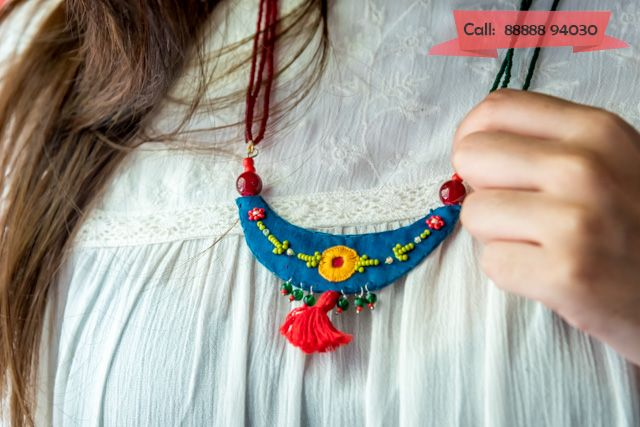 The most unique handcrafted fabric jewelry only @Crafts Bits .