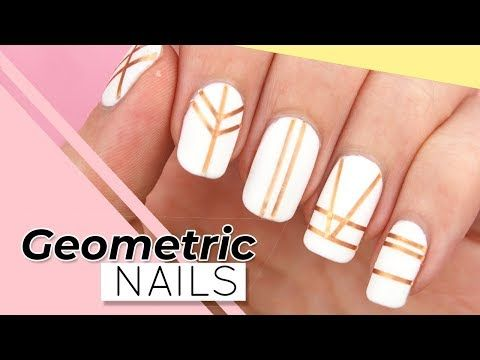 GEOMETRIC NAIL ART | Easy STRIPING TAPE NAILS for Beginners .