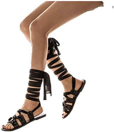 Amazon.com: Cenglings Womens Knee High Gladiator Sandals Flat Lace .