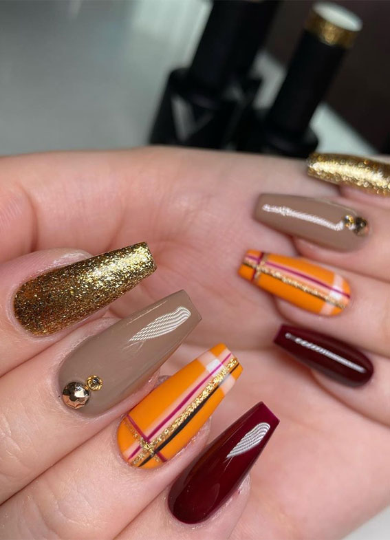 40 Beautiful Nail Design Ideas To Wear In Fall : Glam fall nails id