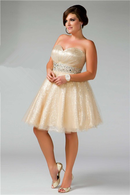 Glamorous Ball Gown Strapless Short/ Mini Shimmer Nude Sequins .