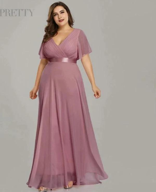 Glamorous double V-neck Chiffon A-line Plus Size Prom Dresses .