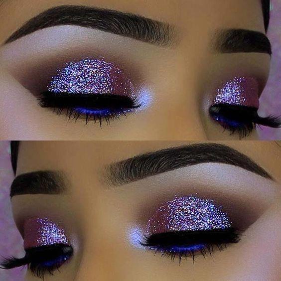 43 Glitzy NYE Makeup Ideas | StayGlam | Glitter eye makeup, Nye .