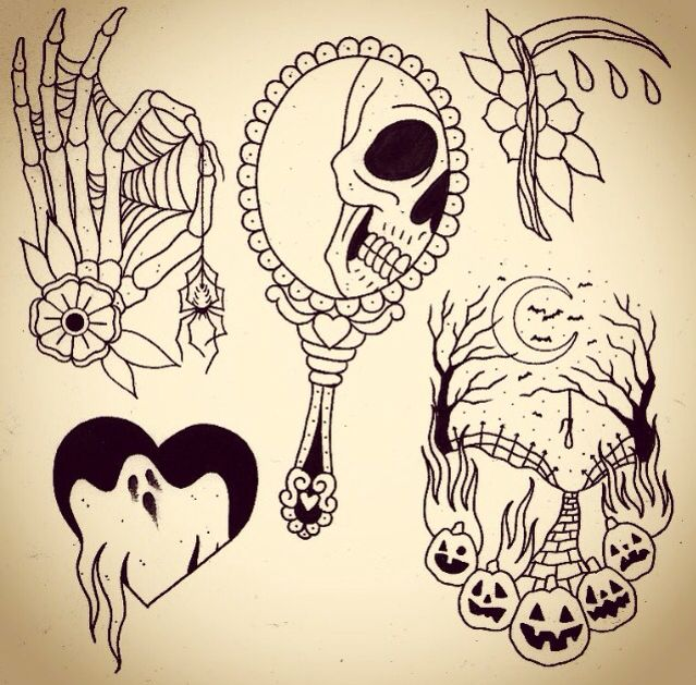 Tattoos I like the ghost in the heart one | Spooky tattoos .