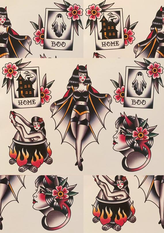 Traditional Halloween Tattoo Flash | Et