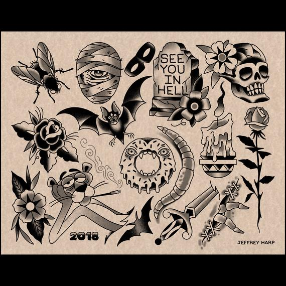 2018 Halloween Tattoo Flash Sheet Two | Et