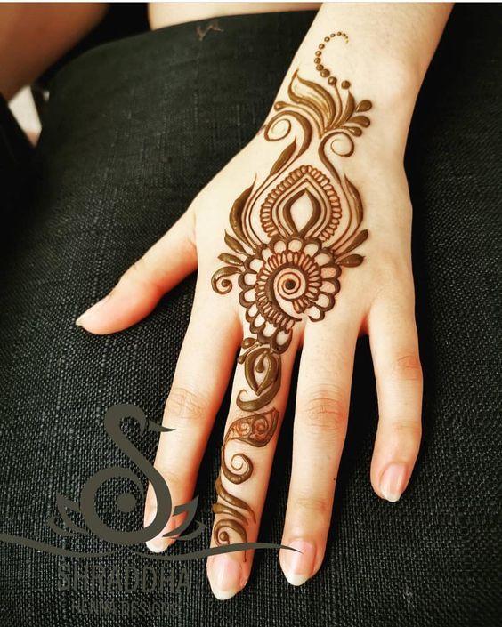Backhand Hand Brown Henna Design | Henna designs hand, Mehndi .