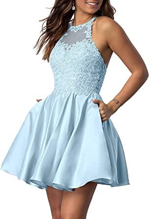 Amazon.com: HofnDolce Women's Halter Sleeveless Homecoming Dresses .