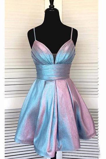 Spaghetti Strap Short Homecoming Dresses V-neck A Line Party Dress .