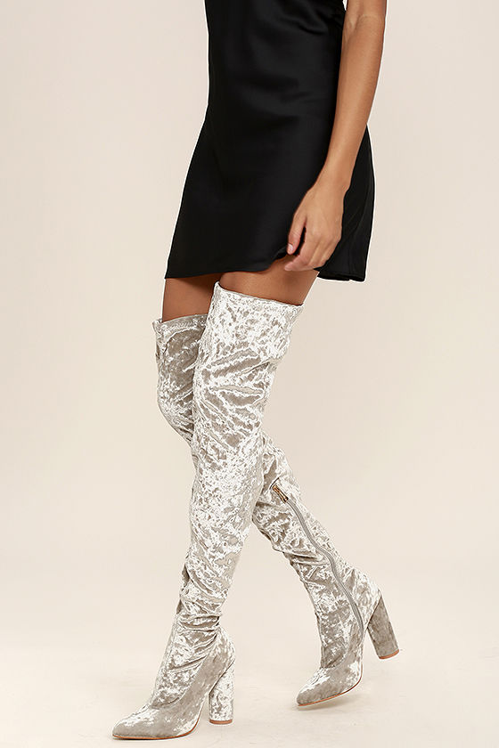 Lovely Grey Thigh High Boots - Velvet Boots - OTK Boots - $49.00 .