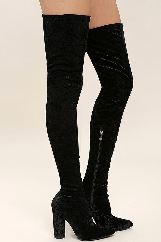 Julia Black Velvet Thigh High Boots | Velvet thigh high boots .
