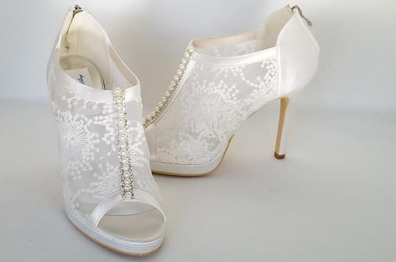 Lace Wedding Shoes with Pearl and Crystal Accent Lace Bridal | Et