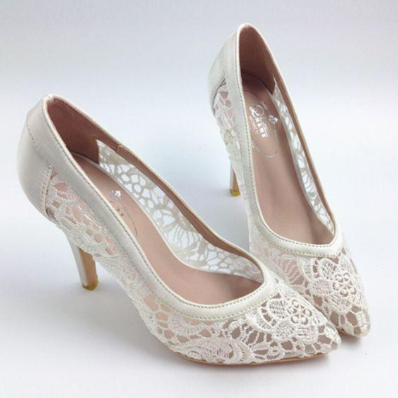 Sexy See Through High Heels Pointed Toe Lace Wedding Bridal Shoes .