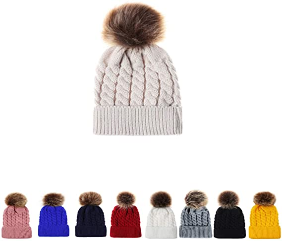 B.J Winter Knit Hat Lovely Pom Pom Women Girls Boys Warm Knit .