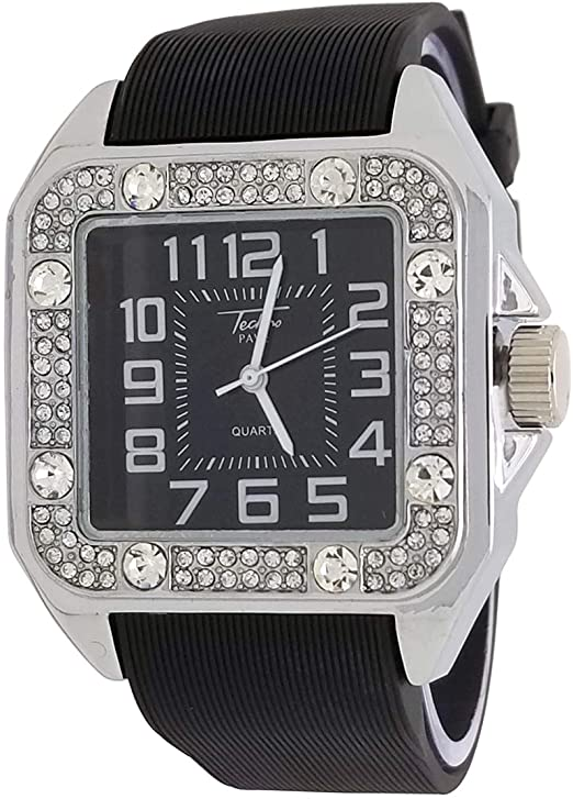 Amazon.com: Techno Pave 14K White Gold Plated Iced Style Square .