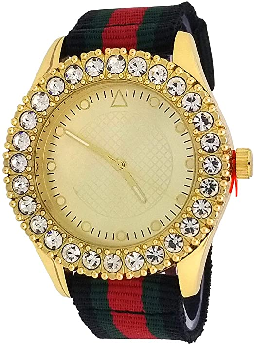 Amazon.com: Techno Pave 14K Gold Plated Iced Style1 Row Big Stone .