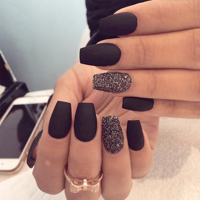 27 Matte Black Nails That Will Make You Thrilled | Matte nails .