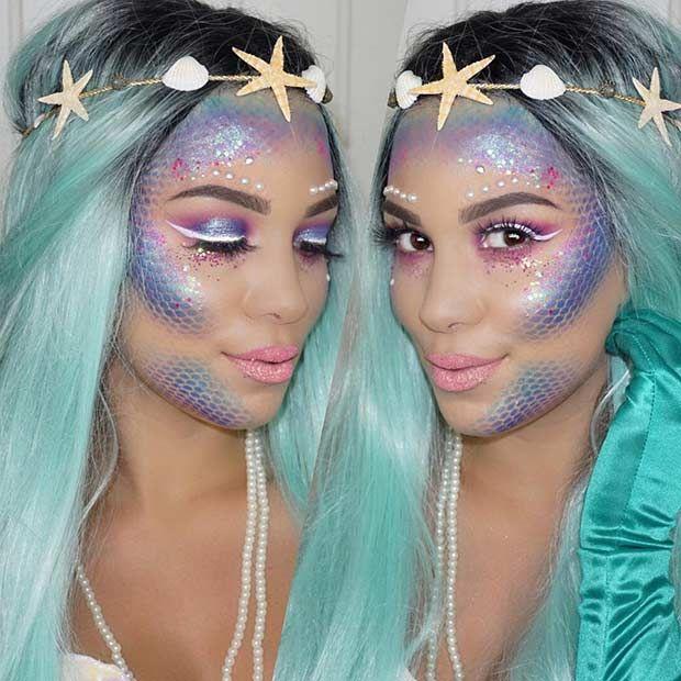 43 Pretty and Easy Halloween Makeup Looks | StayGlam | Mermaid .