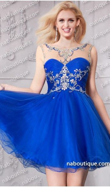 mesmerizing beaded sheer illusion high neck short party dress .