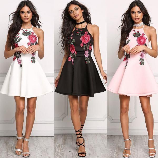 Stylish Floral Embroidery Short Dresses   Ladies mini dresses .
