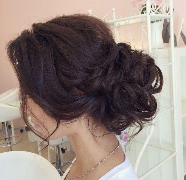 Messy bun, low bun, chignon, wedding updo, wedding hairstyles .