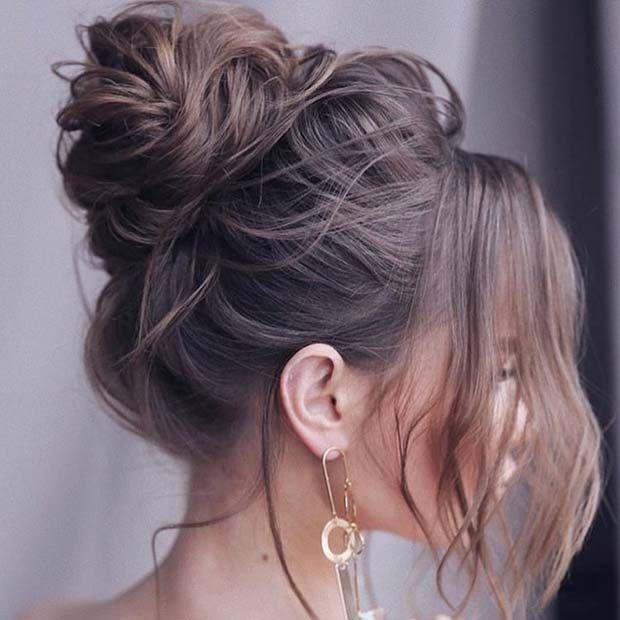 21 Cute and Easy Messy Bun Hairstyles in 2020 | High bun .