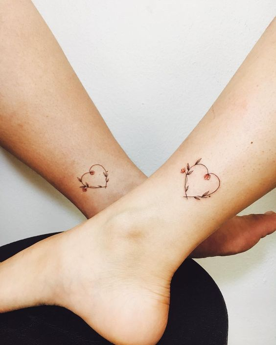 Beautiful Floral Heart Tattoos - Mother Daughter Tattoos - Mother .
