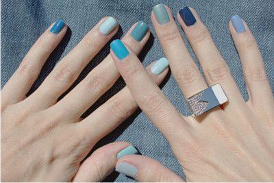 Blue multicolored nail polish   Multicolored nails, Blue ombre .