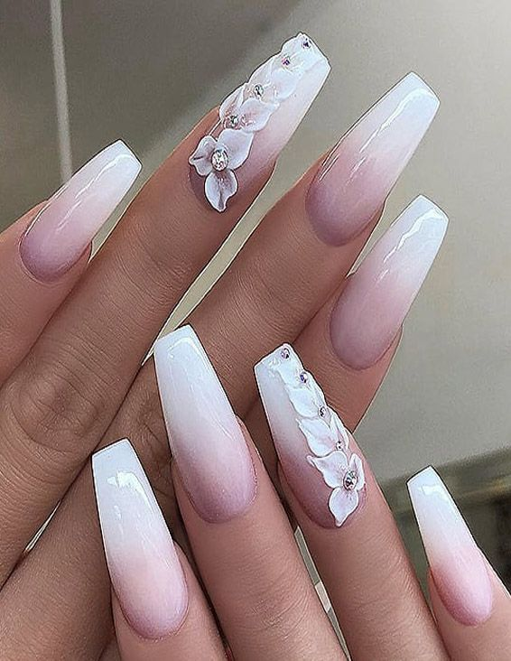 Fresh & Easy White Long Nail Art Styles for Teenage Girls | Matte .