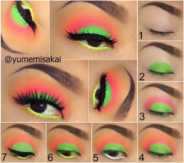 Neon Craze Tutorial! | Makeup, Colorful eye makeup, 80s make