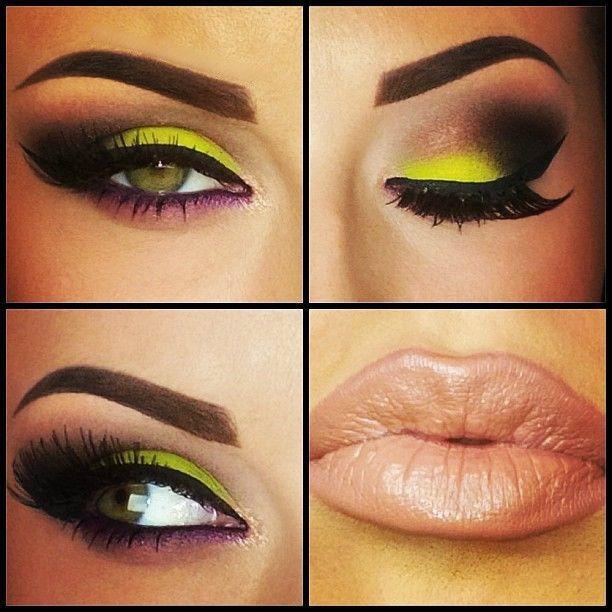 Neon Yellow Eye Makeup | Eye makeup, Yellow eye makeup, Make