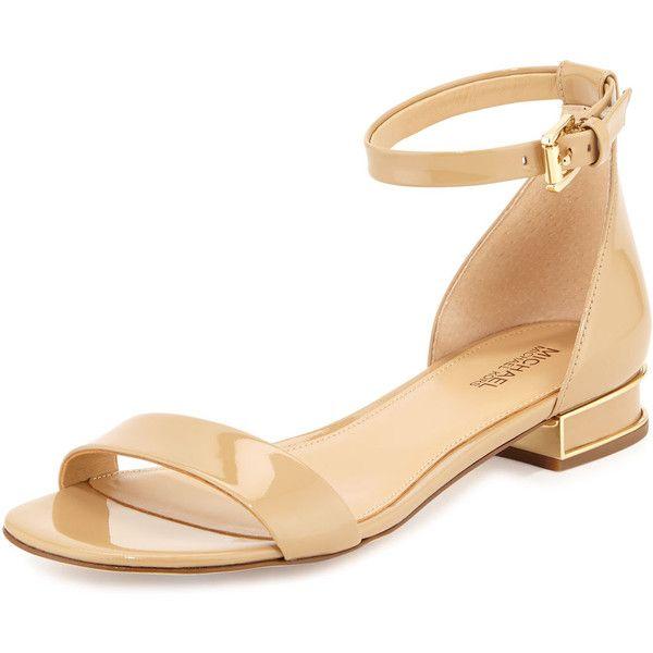 MICHAEL Michael Kors Joy Patent Flat Sandal | Ankle strap heels .