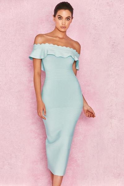 Sky Blue Off Shoulder Dress Cute Baby shower dresses ide
